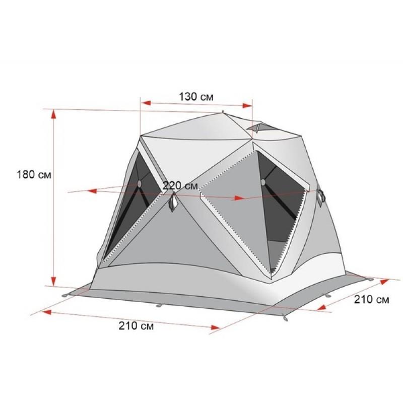 Зимняя палатка ЛОТОС Куб 3 Классик А8 (оранжевый) (фото 2)