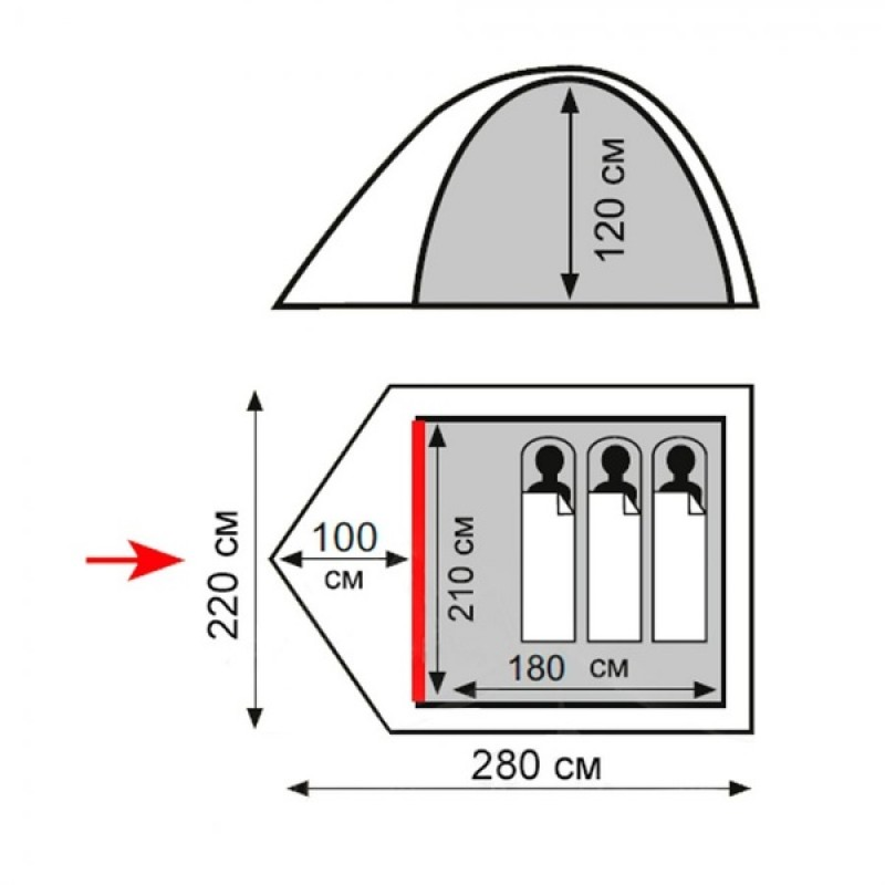 Палатка Totem Tepee 3 (V2) (Зеленый) (фото 2)
