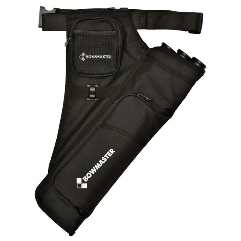 Колчан для стрел Bowmaster 3 тубы с 2 карманами и ремнем черный