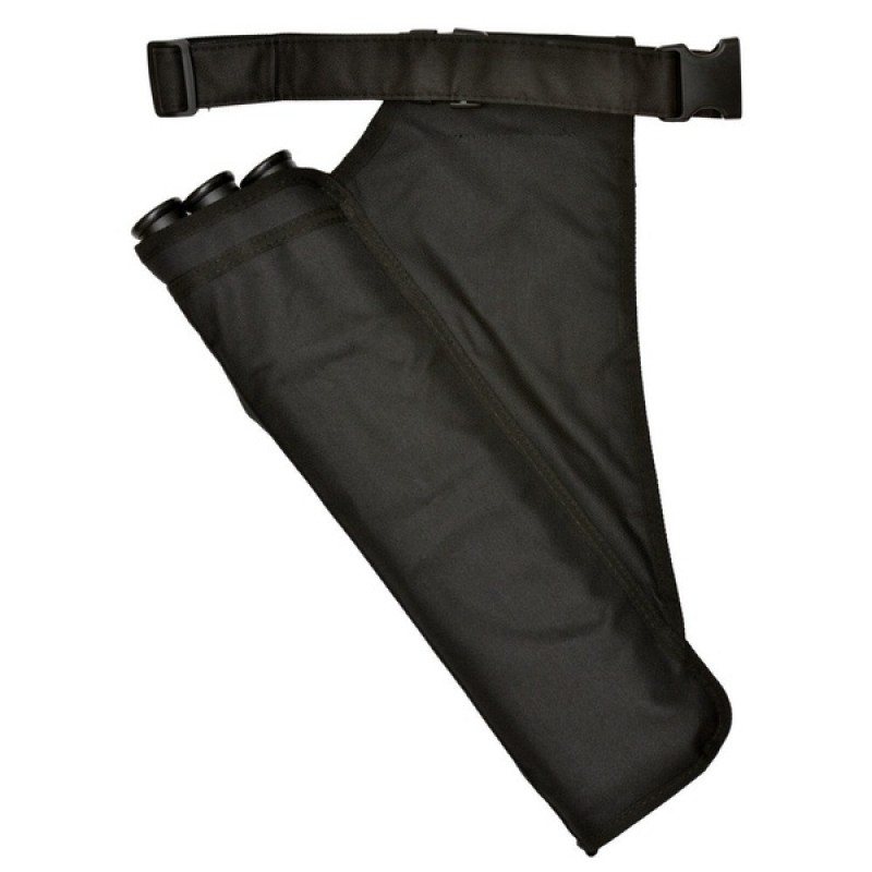 Колчан для стрел Bowmaster 3 тубы с 2 карманами и ремнем черный (фото 2)