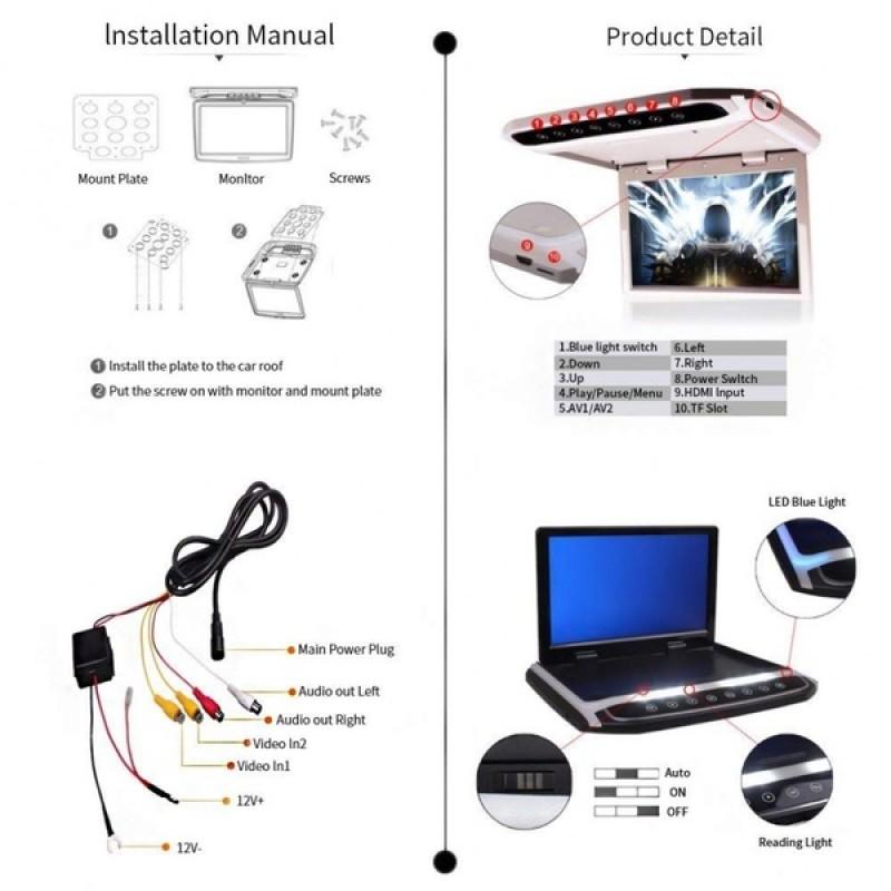 Потолочный монитор для автомобиля Потолочный монитор 17.3 ERGO ER174FH серый/черный (фото 3)