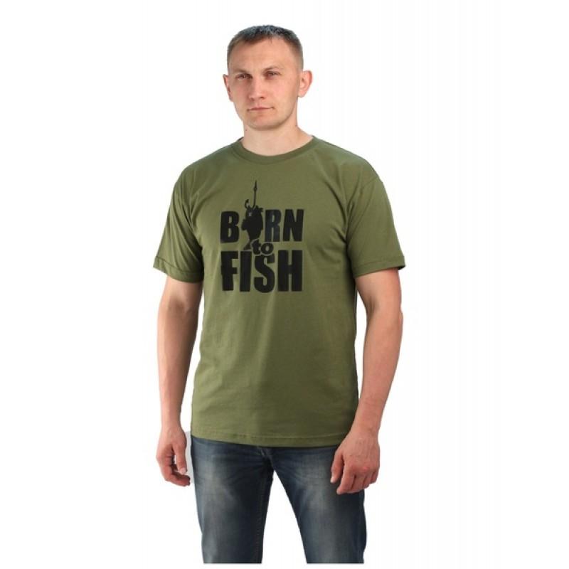 Футболка URSUS Хаки, Принт Born to fish (ФУТ108)