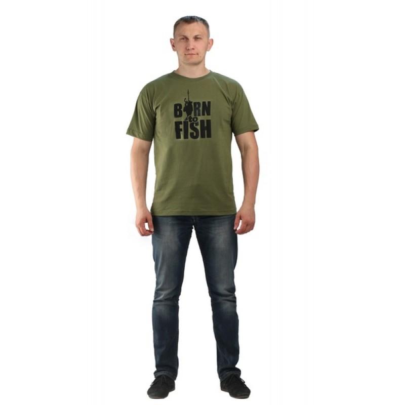 Футболка URSUS Хаки, Принт Born to fish (ФУТ108) (фото 2)