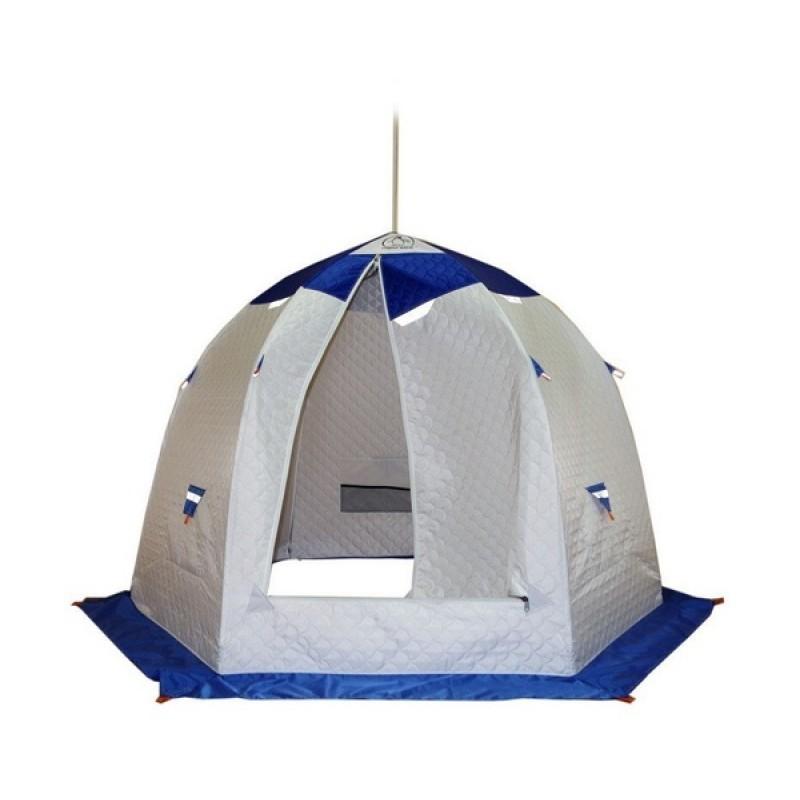 Палатка для зимней рыбалки Зонт Пингвин 3 Термолайт белый-синий (фото 3)