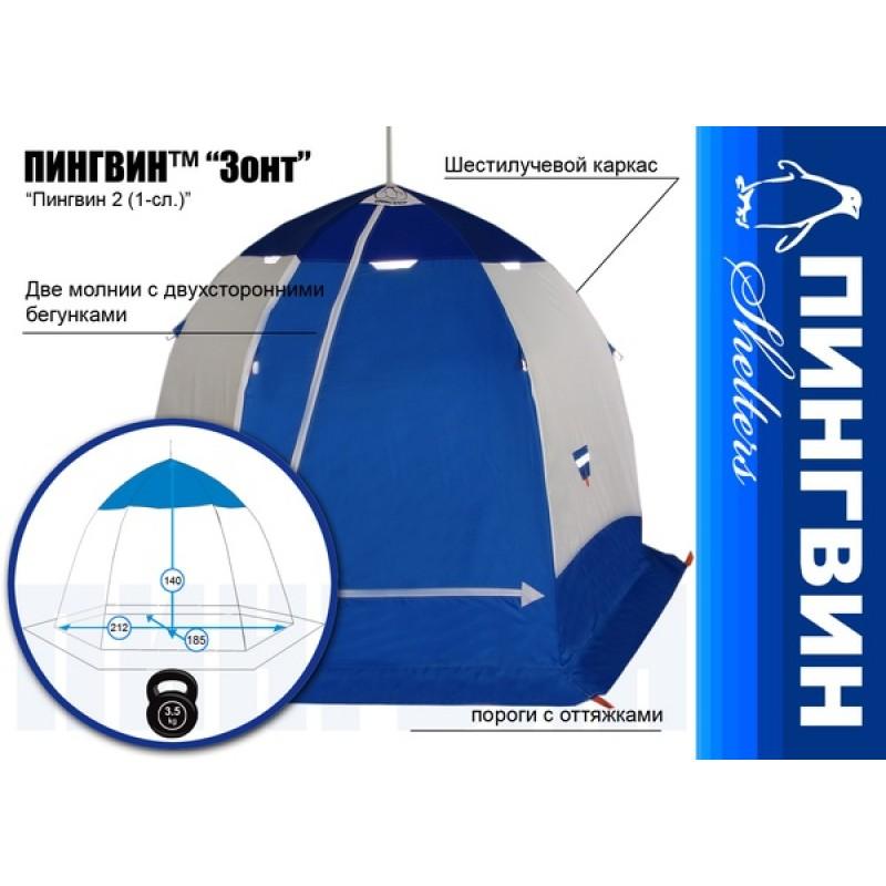 Палатка для зимней рыбалки Зонт Пингвин 2 (1-сл.) (фото 3)
