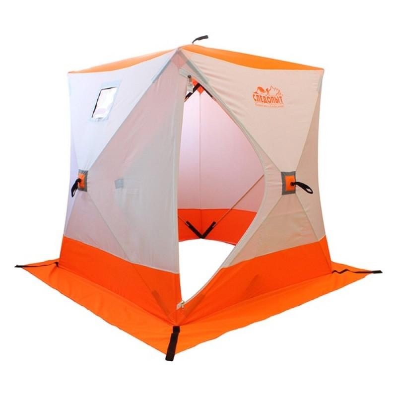 Палатка куб для зимней рыбалки СЛЕДОПЫТ 1,8х1,8 м (Oxford 240D PU 2000, 3-местная) бело-оранж