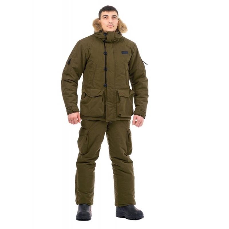 Зимний костюм для охоты «Хант -45°C» (Исландия, хаки) PRIDE полукомбинезон (фото 2)