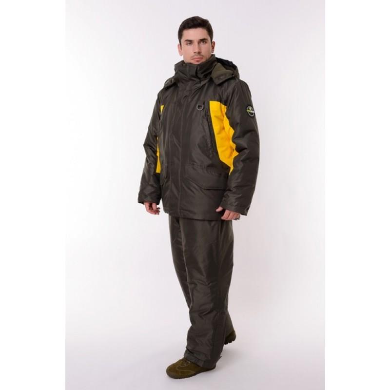 Зимний костюм для рыбалки ONERUS Фишер -45 (Таслан, Зеленый/Желтый) Полукомбинезон (фото 2)
