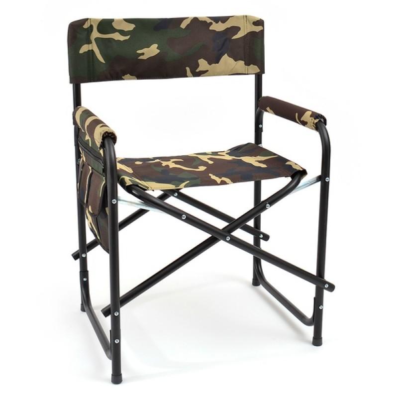 Кресло складное с карманом на подлокотнике SK-02 (сталь, камуфляж)
