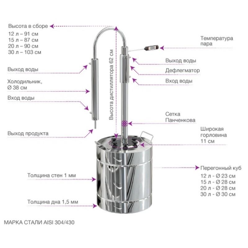 Самогонный аппарат (дистиллятор) ФЕНИКС Салют 30 литров (фото 3)