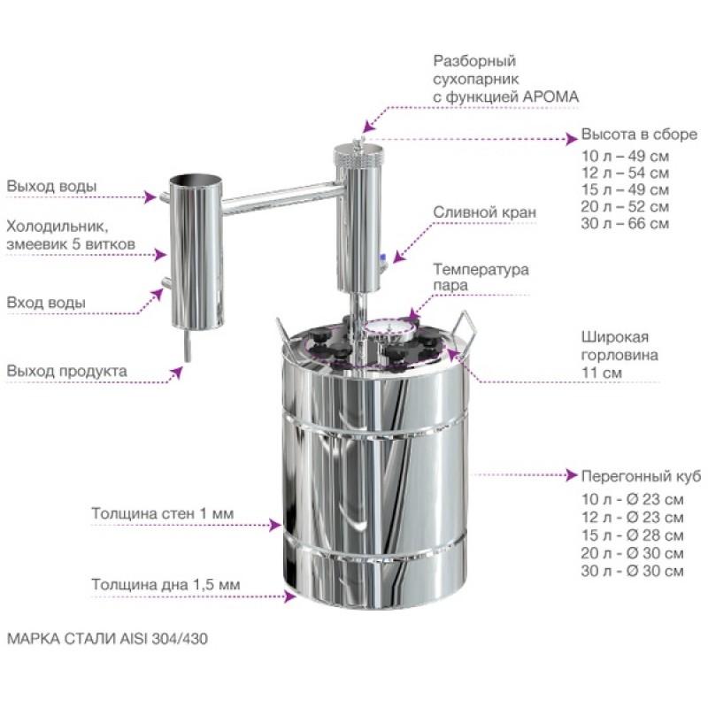 Самогонный аппарат (дистиллятор) ФЕНИКС Эконом (С теном) 12 литров (фото 3)