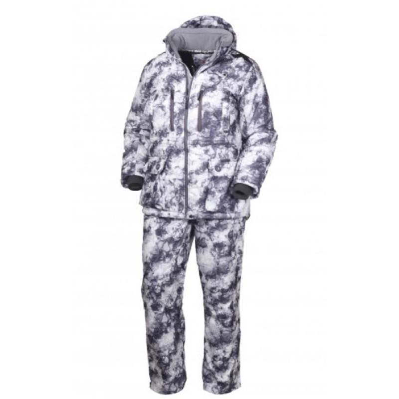 Зимний костюм для охоты и рыбалки ОКРУГ «ОХОТНИК» (Алова, белый камуфляж)