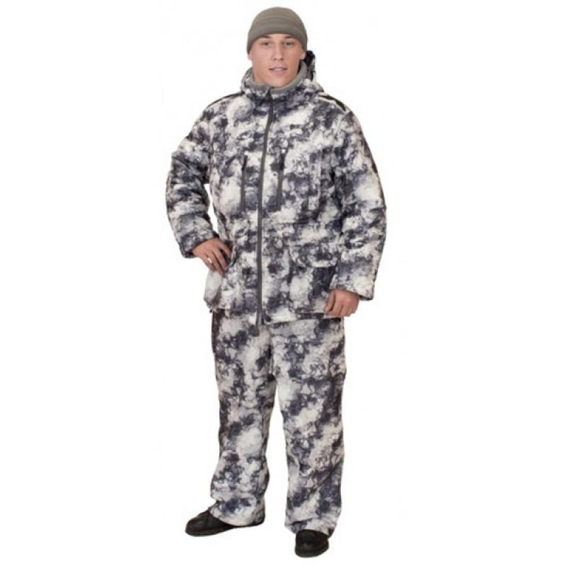 Зимний костюм для охоты и рыбалки ОКРУГ «ОХОТНИК» (Алова, белый камуфляж) (фото 3)