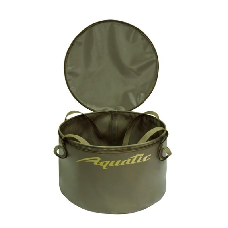 Ведро для замешивания прикормки Aquatic В-06Х (герметичное, с крышкой) хаки (фото 2)