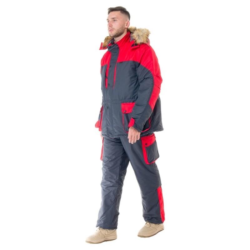 Зимний костюм для охоты и рыбалки ПЕЧОРА (Оксланд, серый-красный) Huntsman