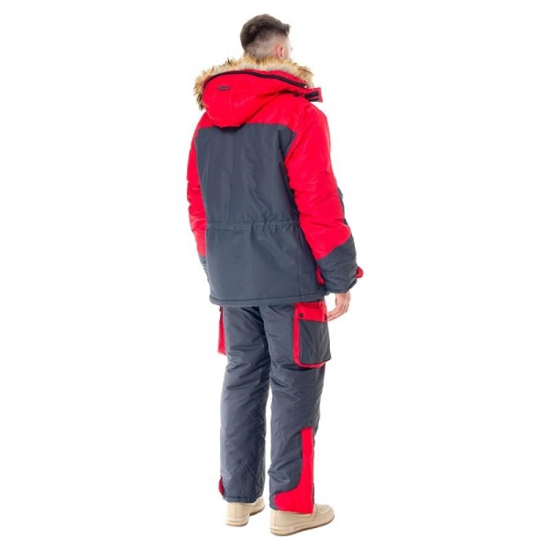 Зимний костюм для охоты и рыбалки ПЕЧОРА (Оксланд, серый-красный) Huntsman (фото 2)