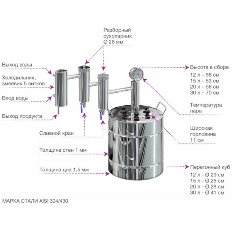 Самогонный аппарат (дистиллятор) ФЕНИКС Локомотив (С теном) 30 литров (фото 3)