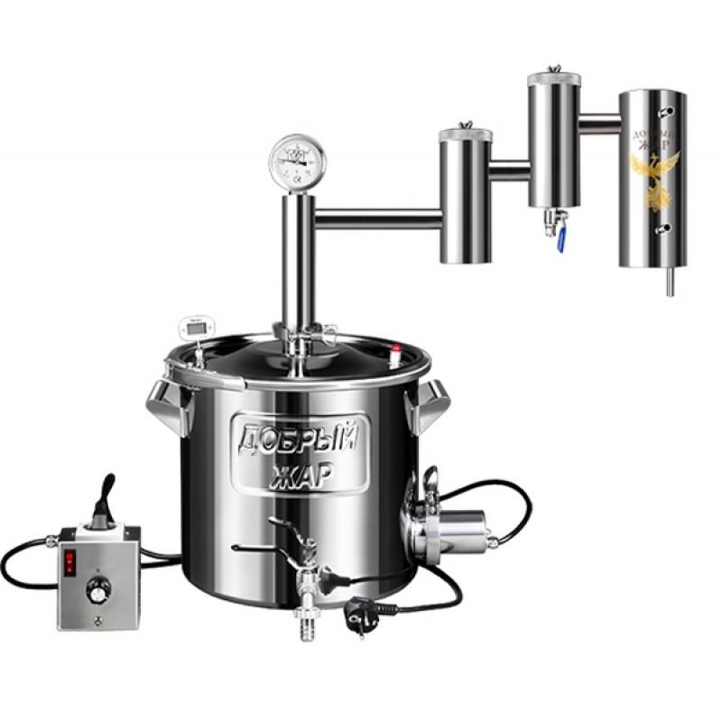 Самогонный аппарат (дистиллятор) Добрый жар ЭКСТРА ЛЮКС ПРО 40 литров (съемный ТЭН)