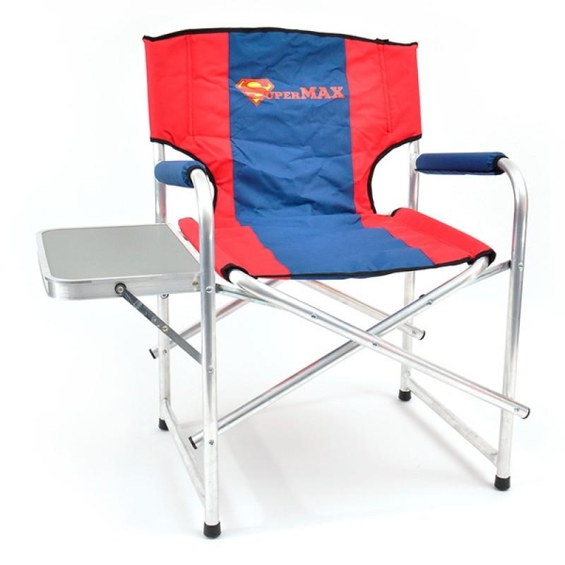 Кресло складное SUPERMAX со столиком AKSM-03 (алюминий/пластик, красный/синий)
