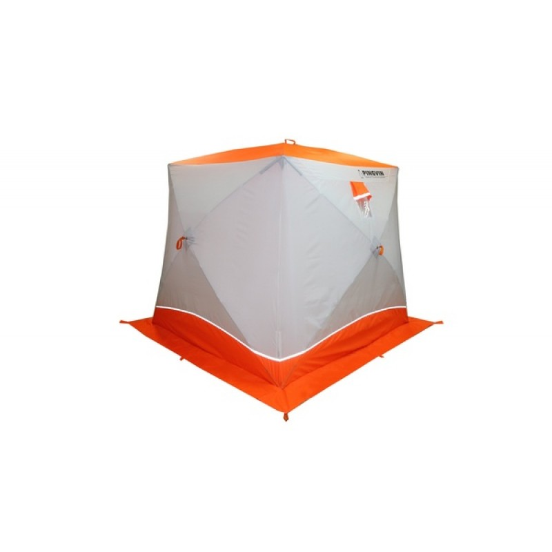 Палатка для зимней рыбалки Пингвин Призма (2-сл, В95Т1)  бело-оранжевая (фото 2)
