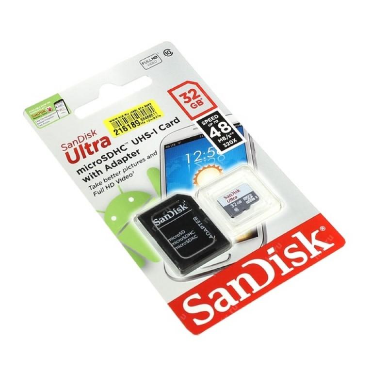 Карта памяти SanDisk 32Gb (10 класс), с переходником SD (фото 2)