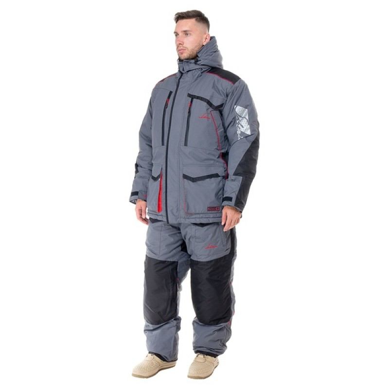 Зимний костюм для рыбалки Siberia -45°С (Серый, Breathable) Huntsman
