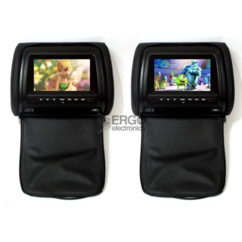 Комплект подголовников с DVD проигрывателями 7 ERGO ER700HD Черный