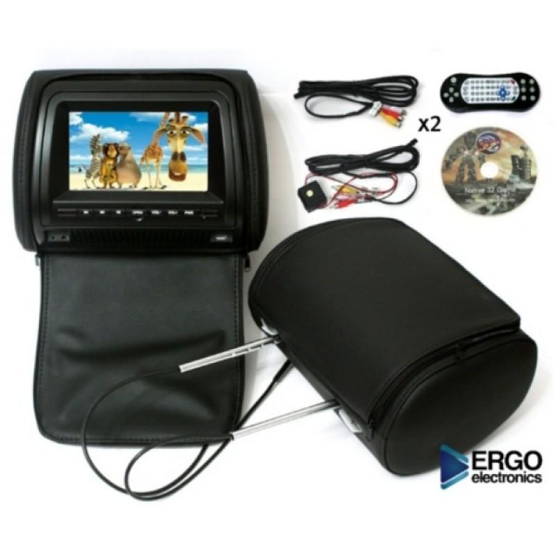 Комплект подголовников с DVD проигрывателями 7 ERGO ER700HD Черный (фото 3)