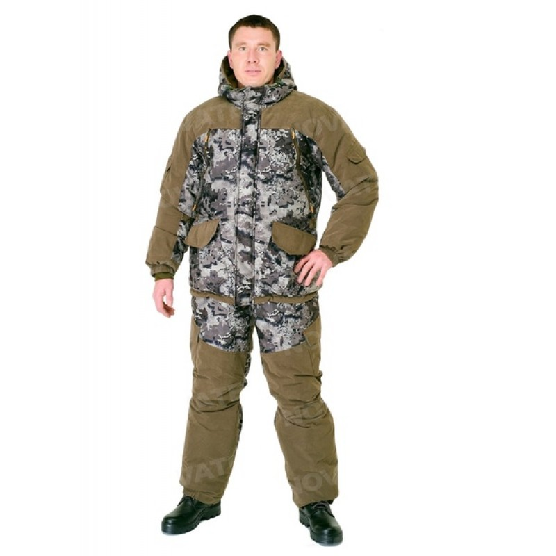 Зимний костюм для охоты и рыбалки «Горка Зима» -45 (Алова, Коричневый тетрис) PRIDE