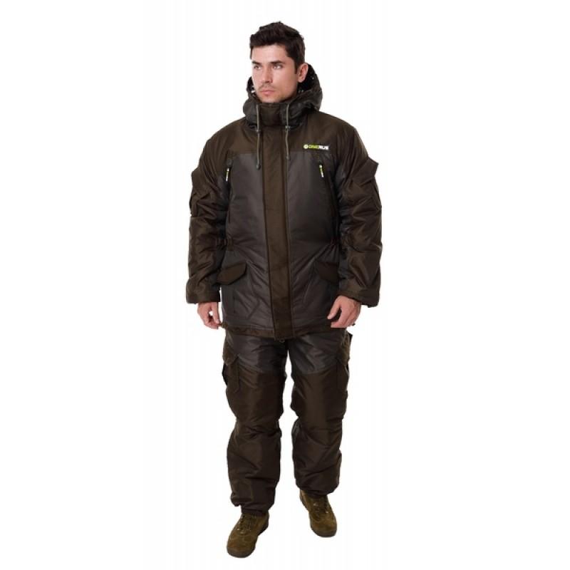 Зимний костюм для охоты и рыбалки ONERUS Горный -45 (Таслан, темный хаки) Полукомбинезон