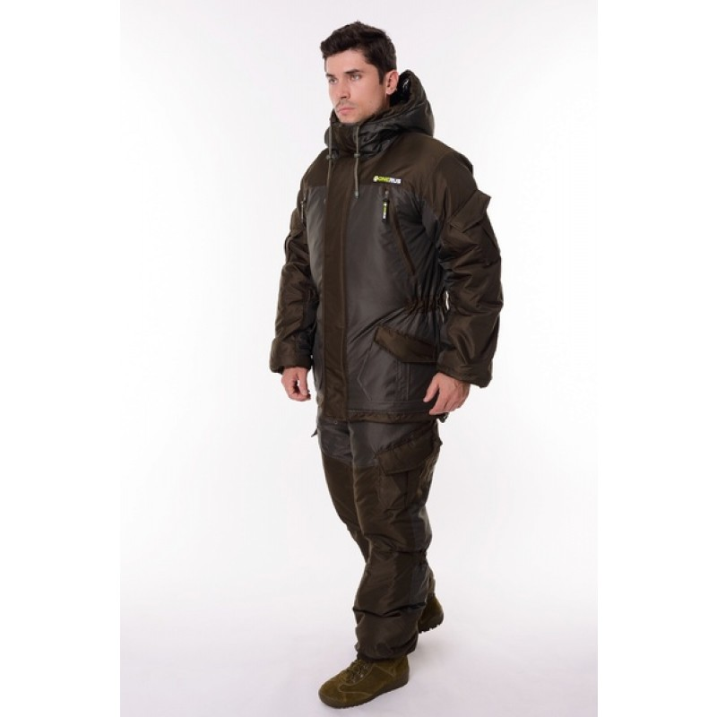 Зимний костюм для охоты и рыбалки ONERUS Горный -45 (Таслан, темный хаки) Полукомбинезон (фото 2)