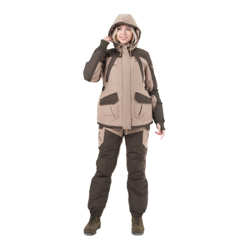 Женский костюм для охоты и рыбалки TRITONGEAR Горка -40 (Финляндия/Бежевая) полукомбинезон