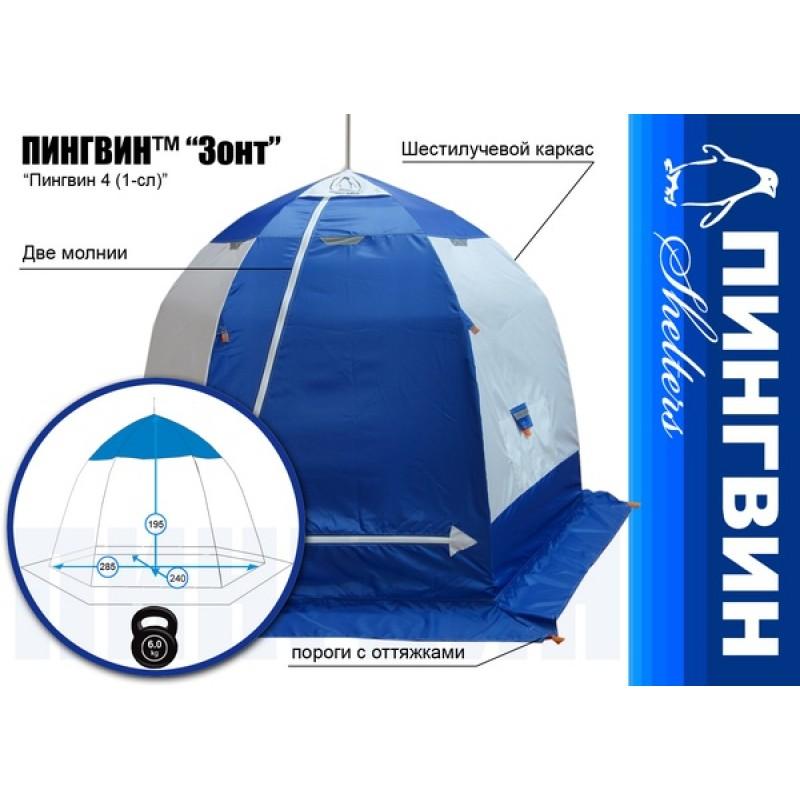 Палатка для зимней рыбалки Зонт Пингвин 4 (1-сл) бело-синяя (фото 2)