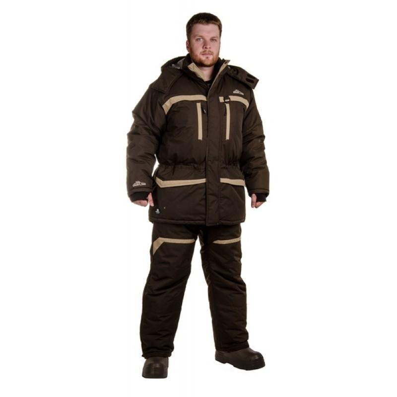 Зимний костюм для рыбалки «Cоболь» -45 (Таслан, темный хаки) GRAYLING