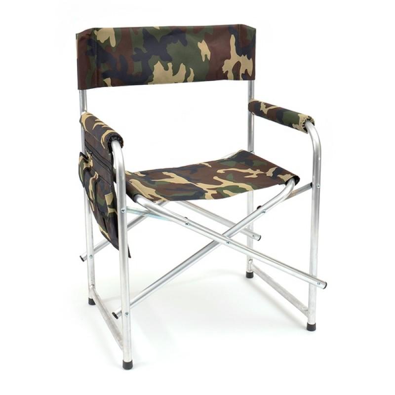 Кресло складное с карманом на подлокотнике AKS-02 (алюминий, камуфляж)